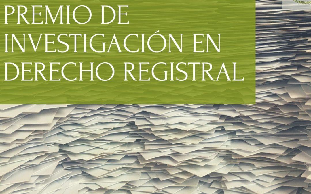 Premio Investigación Derecho Registral